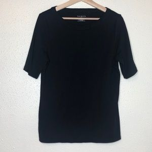 Talbots Black Boatneck Short Sleeve
